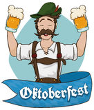 Happy Bavarian Man Celebrating Oktoberfest with Beer, Vector Illustration Royalty Free Stock Photos