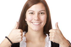 happy Bavarian Woman in Dirndl with thumbs up Royalty Free Stock Images