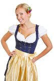 Happy bavarian woman in dirndl Royalty Free Stock Image