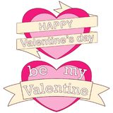 Happy be my valentine day colorful poster, hearts, ribbons and text. Love holiday vector illustration for gift card, flyer, certificate or banner Stock Photography