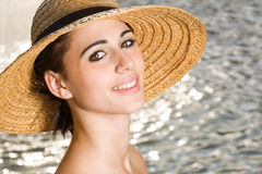 Happy beach brunette portrait. Royalty Free Stock Images