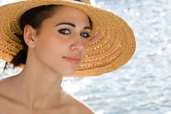 Happy beach brunette portrait. Stock Photography