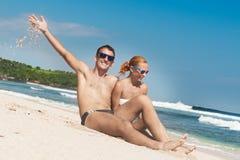 Happy beach couple Stock Photography