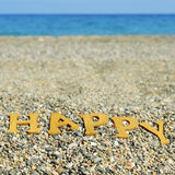 Happy on the beach, with a filter effect Stock Image