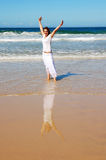 Happy beach holiday woman Stock Photography