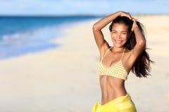 Happy beach sexy bikini body Asian woman smiling Royalty Free Stock Photography