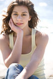Happy beach summer girl Stock Images
