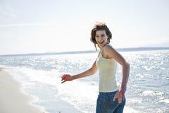 Happy beach summer girl Stock Photos