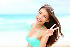 Happy beach vacation woman Stock Image