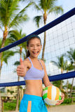 Happy beach volleyball woman player thumbs up Royalty Free Stock Photos