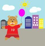 Happy Bear Cartoon. Happy Animals bear love baloon cartoon for website, t-shirt kids, drawing books. wallpaper bedroom Royalty Free Stock Photography