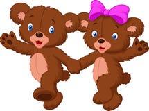 Happy bear cartoon couple Stock Photo