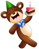 Happy bear cartoon holding birthday cake Stock Images