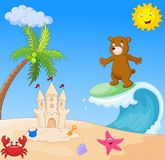 Happy bear cartoon surfing Royalty Free Stock Images