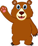 Happy bear cartoon waving hand Royalty Free Stock Images
