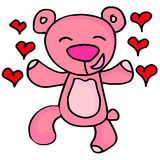 Happy bear character valentine days Royalty Free Stock Images