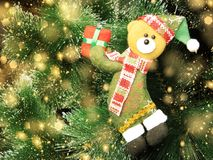 Happy bear christmas background with snow and snowflakes Royalty Free Stock Photos