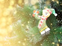 Happy bear christmas background with snow and snowflakes Royalty Free Stock Images