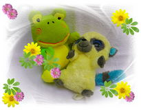 Happy bear friendship and happy birthday and children pets love and flowers and teddys. And happy days and flower greetings Stock Photos