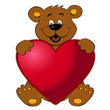 Happy bear with heart Stock Photography