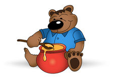 Happy bear with honey pot Royalty Free Stock Photo