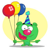 Happy bear in party hat with balloons Royalty Free Stock Photos