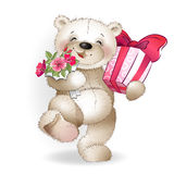 Happy bear runs with gifts Royalty Free Stock Photo