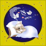 HAPPY BEAR SLEEPS AND DREAMS Royalty Free Stock Image