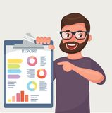 Happy beard businessman shows finance report. Business concept. Vector flat illustration. Happy beard businessman shows finance report. Business concept. Vector Royalty Free Stock Image