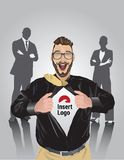 Happy bearded businessman pulling open shirt to reveal your logo Royalty Free Stock Image
