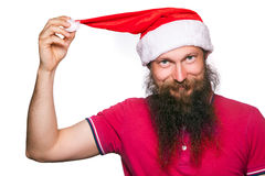 Happy bearded happy man with red hat and t-shirt, studio shot. Stock Photos