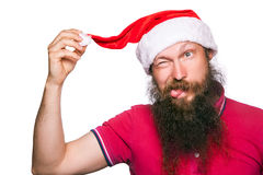 Happy bearded happy man with red hat and t-shirt, studio shot. Stock Images
