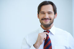 Happy bearded man straightening his tie Stock Image