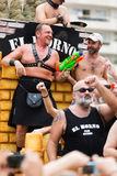 Happy bearded men at  gay pride parade in Sitges Stock Photography