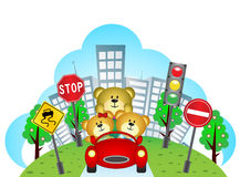 Happy bears on a car with city background and traffic sign Stock Image