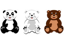 Happy Bears Sitting. Cartoon of polar bear, panda and brown bear sitting Stock Images