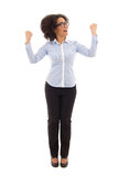 Happy beautiful african american business woman celebrating some stock photography