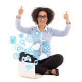 Happy beautiful african american business woman sitting with lap Stock Image