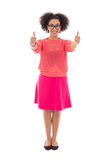 Happy beautiful african american teenage girl in pink thumbs up Stock Image