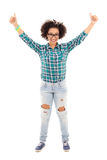 Happy beautiful african american teenage girl thumbs up isolated Royalty Free Stock Image