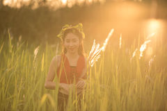 Happy beautiful asian girl enjoying nature. royalty free stock photography