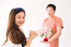 Marry proposal to beautiful woman Royalty Free Stock Photo