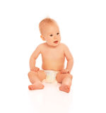 Happy beautiful baby in a diaper isolated Royalty Free Stock Images