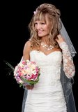 Happy beautiful bride on black background with bouquet of weddin Stock Image