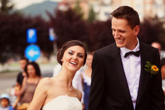 Happy beautiful bride and groom Stock Images