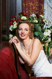 Happy beautiful bride in interiors Royalty Free Stock Photography