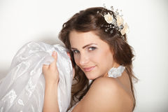 Happy beautiful bride over white background Stock Image