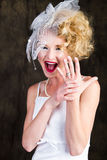 Happy Beautiful Bride showing off her ring Stock Images