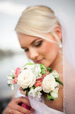 Happy and beautiful bride tender at spring outdoors at the beach Royalty Free Stock Photo