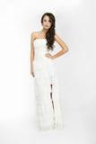Happy beautiful bride white background up cloth Stock Image